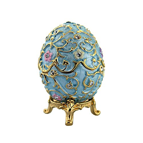 Blue Flowered Faberge Egg with Stand and Ring Insert - Swarovski Crystals, Limited Edition Collectible