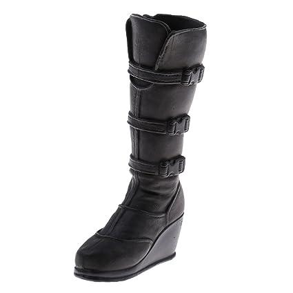 Amazon.com  Baoblaze 1 6 Female Cops Combat Boots Knee High Shoes ... 25f67ef23