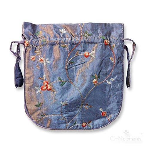 Closure Grey EB Organizer F5 Flower CHN Satin Evening Elements Draw Bag accessories String Embroidered with vx6qwEUEn1