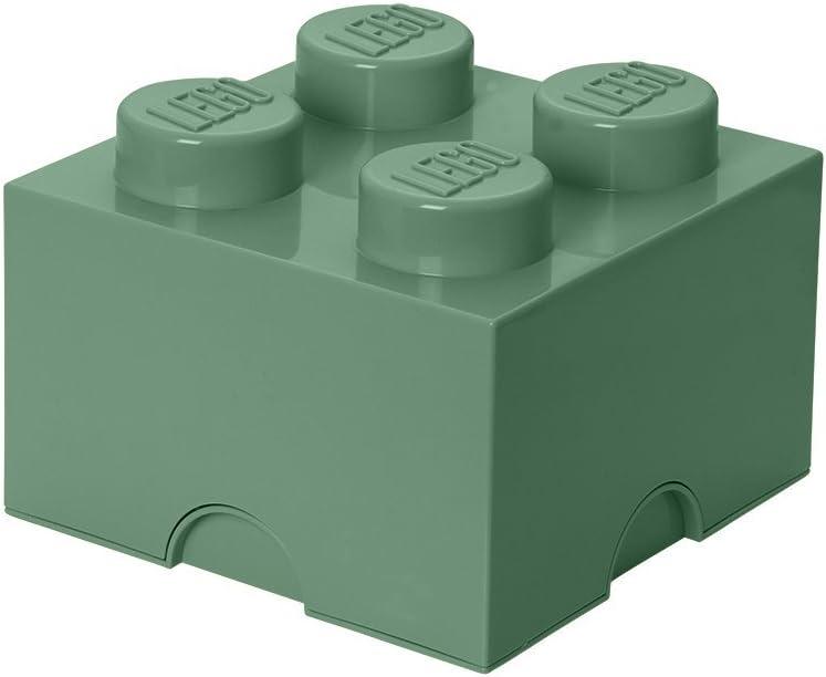 LEGO 40031747 Brick 4 Knobs, Stackable Storage Box, 5.7 l, Sand Green