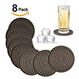 Silicone Drink Coasters Set of 8-Deep Tray,Large 4.3 inches Size Protect Table Desk From Drinks, Beverage,Water or Alcohol Like Whiskey, Beer, Wine,Tropical Cocktails by Kindga (Brown-Oval)