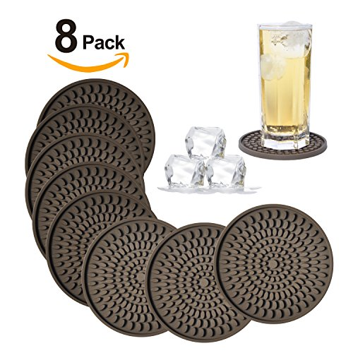 Silicone Drink Coasters Set of 8-Deep Tray,Large 4.3 inches Size Protect Table Desk From Drinks, Beverage,Water or Alcohol Like Whiskey, Beer, Wine,Tropical Cocktails by Kindgal (8, Brown-Oval) by Kindga