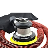Air Random Orbital Sander 5 Inch Heavy Duty Pneumatic Polisher Dual Action Red Tool (5inch with vacuum, silver)