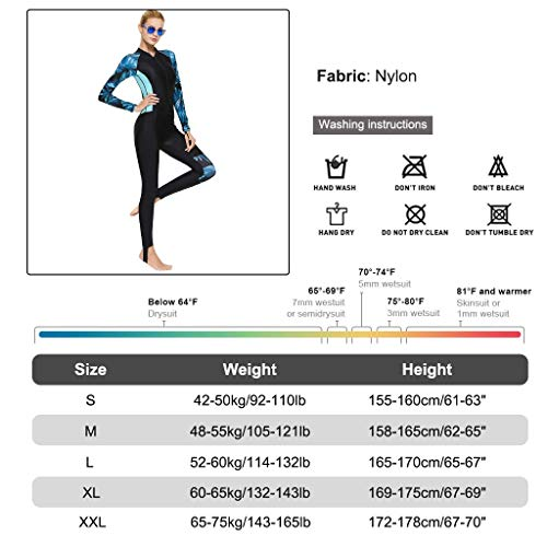Full Body Scuba Rash Guard Dive Skin UV Swimwear Sport Skins for Men Women, Long Sleeve One Piece Front Zipper Diving Wetsuit for Surfing Swimming Snorkeling Canoeing (Women's Blue, M)