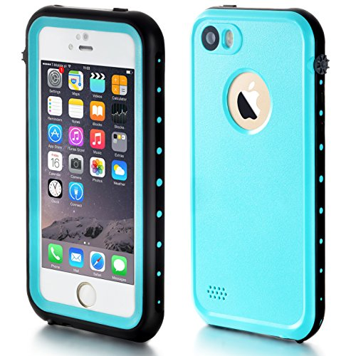 Price comparison product image iPhone 5S Waterproof Case, eFond iPhone SE Waterproof Case IP68 Certified Shockproof Durable Slim Fit Full-Sealed Hard Cover with Touch ID Snow Dust Dirty Proof Case for iPhone 5 5S SE [Teal Blue]