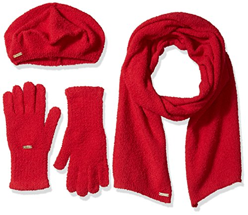 Calvin Klein Women's Super Soft Beret, Scarf and Glove Set, Rouge, One Size (Beret Set Scarf)