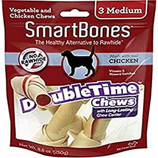 SmartBones SBDT-02021 DoubleTime Chews 3 Count, Medium, Rawhide-Free Chews For Dogs With Long-Lasting Chew Center