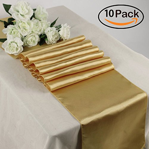 TRLYC Pack of 10 12x108 Inches Gold Creative Designs Luxury Gold Satin Table Top Runners Wedding Banquet Party Decoration (Satin Finish Finish Gold)