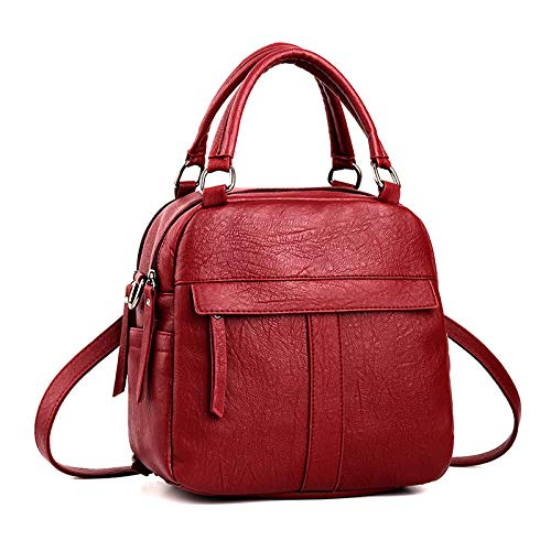 Shoulder Bag Single Rosso Double Women Lady Handbag Shoulder For nero Hand Strap 22x12x21cm w78zaq