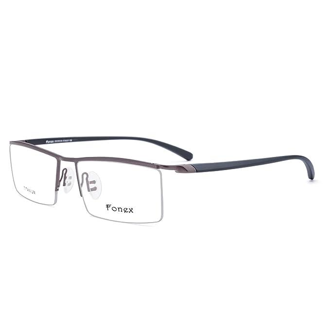 dc1c9a299c FONEX TR90 Half Square Men Prescription Optical Glasses Frame 8332  (coffee black