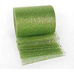 Tulle Rolls Glitter Rainbow Gauze Ribbon Rolls Organza Tulle Spools Wedding Decorations Gift Packing Wrap 25Yards 100Yards 6'' (25 Yards Green 6'')