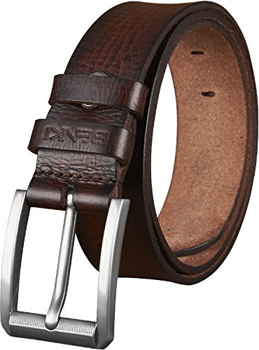 Genuine Leather Jean Belt (Belt for Men - Genuine Leather Men's Belt - Two Tone Premium Full Grain Leather--Trimmed to Fit - (40-42, BROWN TWO)