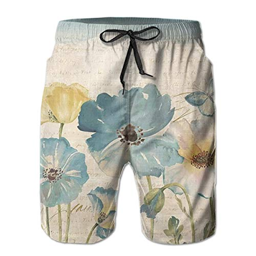 AUISS Watercolor Poppies Blue Man's Beach Board Shorts Swimsuit for Surfing