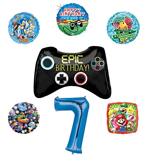 Video Gamers 7th Birthday Party Supplies and Balloon Decorations (Sonic, Super Mario, Pac Man and Slither.io)
