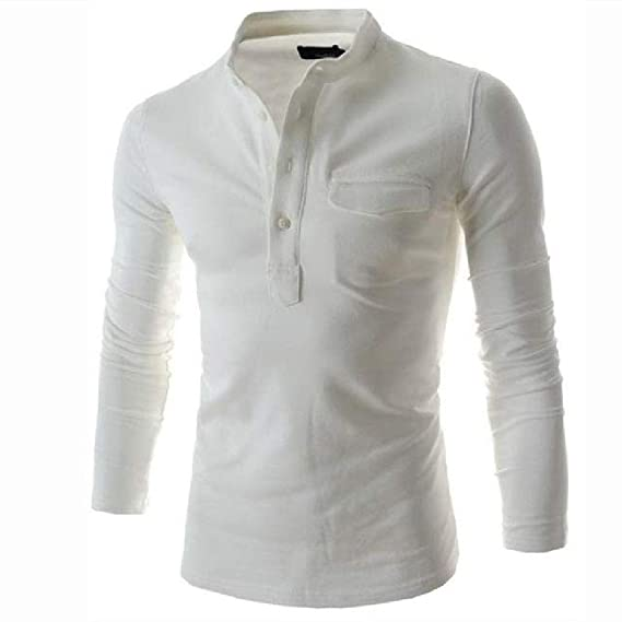 Camisa Polo Hombre Manga Larga Cuello Alto Camisa Casual Blanco ...