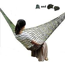 Tooge Travel Camping Hammock - Comfortable Hanging Nylon Mesh Rope Hammock Sleeping Hanging Bed for Hiking Camping Outdoor Travel Sports Beach Yard