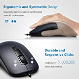 VicTsing 4-Button Wired USB Optical Mouse with 5ft Cord, Computer Mouse with 3 Adjustable DPI Level (1000/1600/2000), Compatible with PC, Mac, Desktop and Laptop