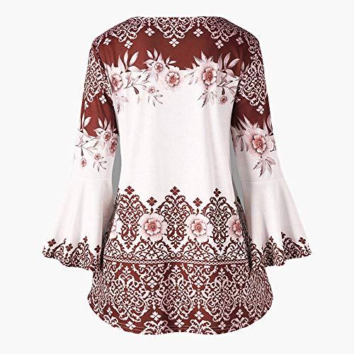 Largas Impresa Manera Las Luckycat collar Camisas De Mujeres Marrón V Camisa La Finas Mangas Camiseta 5wvCaqOR