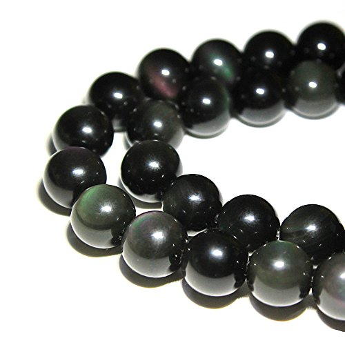 JARTC Rare Collection Natural Stone Beads Rainbow Obsidian Round Loose Beads for Jewelry Making DIY Bracelet Necklace (6mm)
