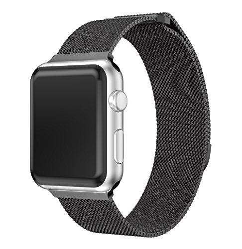 for Apple Watch Band 38MM, Fully Magnetic Closure Clasp Mesh Loop Milanese Stainless Steel Replacement Bracelet Metal Strap Wrist Band for iWatch Series 3 Series 2 Series 1 (Black, 38MM) - Clasp Metal Magnetic