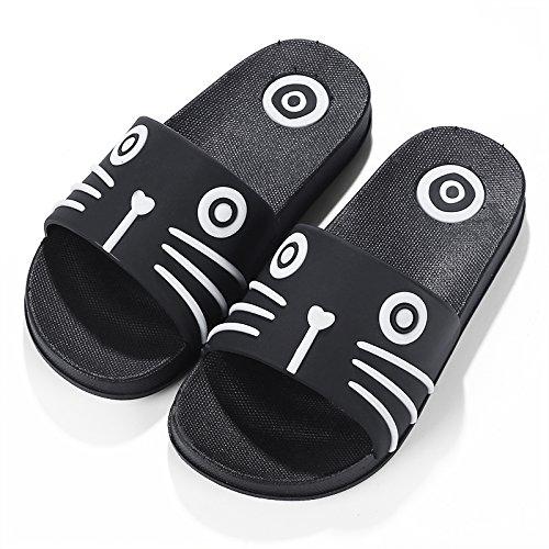 Y-Hui, un par de zapatillas, una familia de verano, tres padres, un espeso Skid Proof Hombre, un hijo de la casa, el baño interior zapatillas Childrens black cat