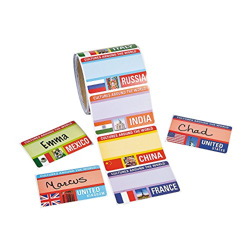 Fun Express 100 ~ Around The World Name Tags / Labels ~ Size: 2 1/2