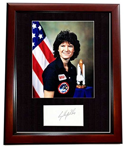 Sally Ride Signed - Autographed NASA Astronaut - 1st Women in Space Index Card Matted with Photo - MAHOGANY CUSTOM FRAME - Deceased 2012