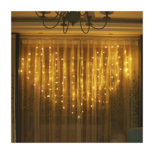 YiiY Heart Shaped String Light Curtain lights - for Valentine's Day,Wedding Party, Home Garden, Bedroom, Outdoor ,Indoor ,Wall Decorations 120Led 32 White Ball Warm White Color