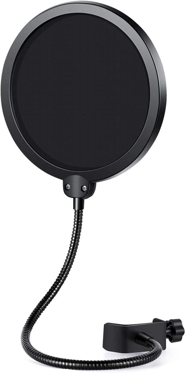 Innogear 6 Inches Microphone Pop Filter Studio Microphone Absorber Filter Mic Screen Round Shape Wind Pop Filter Mask Shield With Stand Clip Black Filter Musical Instruments