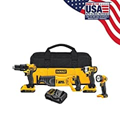 "The DEWALT DCK420D2 20V MAX* LITHIUM ION 4-TOOL COMBO KIT(2.0 AH) includes the DCD780 Drill/ Driver, DCF885 1/4"" Impact Driver, DCS381 Reciprocating Saw, and DCL040 LED Work Light. Features like the DCD780's 2-speed transmission, the DCF885's..."