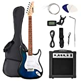 LAGRIMA39 Inch Full Size Electric Guitar Starter Kit with 20W Amp, Case and Accessories Pack Beginner Starter Package (39, Blue)