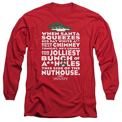 Christmas Vacation Jolliest Bunch Unisex Adult Long-Sleeve T Shirt for Men and Women Red (Of Christmas Days Ellen)