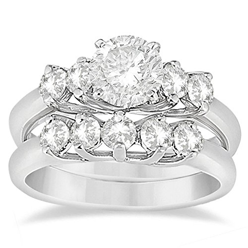 Five Stone Diamond Bridal Set Engagement Ring with Matching Band For Women in Platinum (0.90ct)