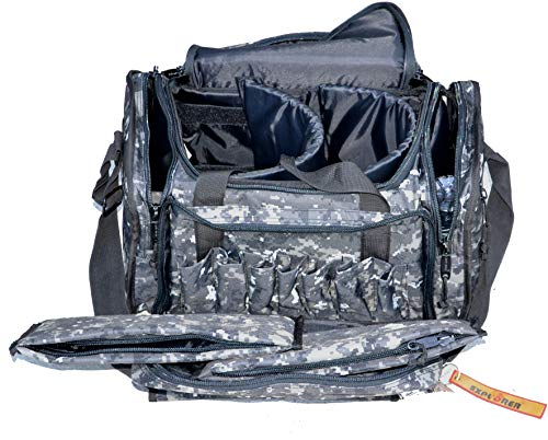 Explorer Large Padded Deluxe Tactical Range Bag Rangemaster Gear Tactical Assault Sling Pack Range Shoulder Camera Bag Modular(Black Camo Color)