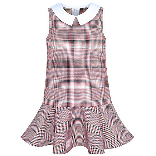 Girls Dress Red Tartan Back School Uniform White