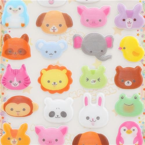 Puffy Elephant - Colorful cat bear frog bunny rabbit animal puffy lenticular stickers