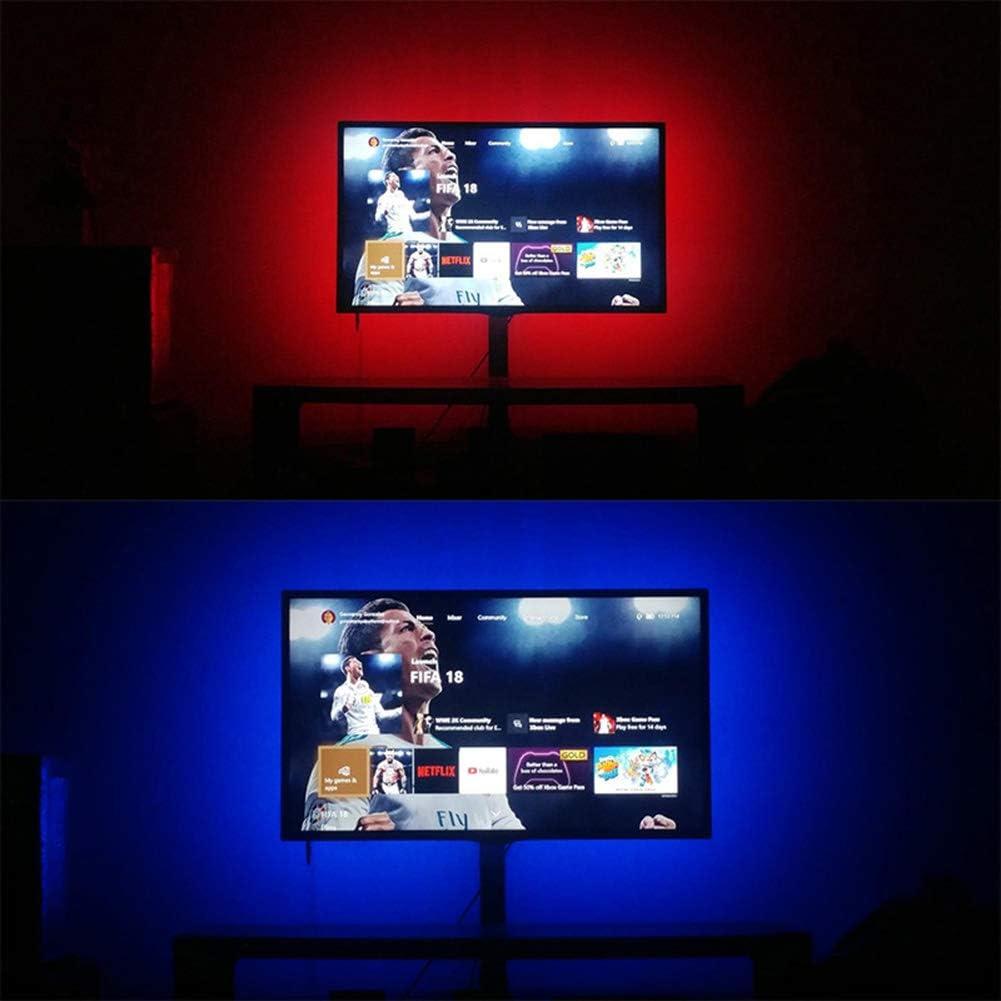 GQNLY Tira de Luces LED a Prueba de Agua, 2M 5050 TV Luz de Fondo Iluminación de polarización USB, Cambio de Color RGB y Luces de Modo múltiple para TV en el