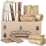 Fire Starters box: kindling wood sticks + fire starter logs (similar fatwood) + fat wood squares for camping - Wood stove| Fireplace | Camp firestarter