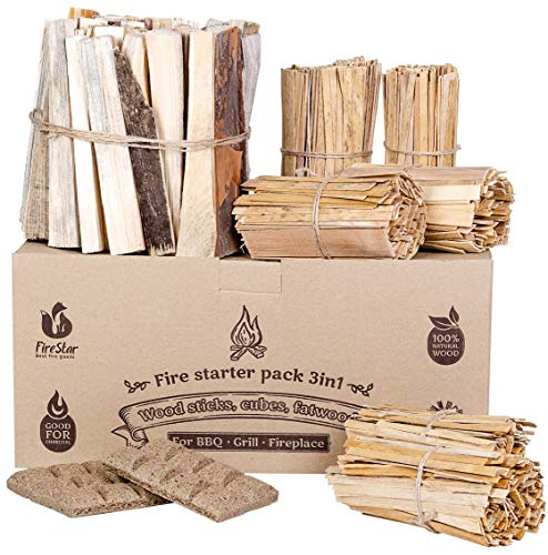 Fire Starters box: kindling wood sticks + fire starter logs (similar fatwood) + fat wood squares for camping - Wood stove| Fireplace | Camp firestarter