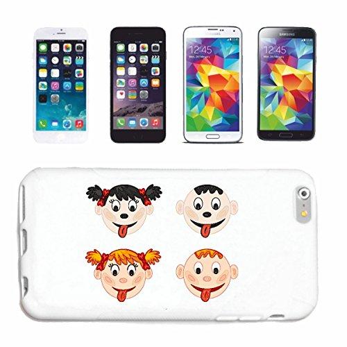 """cas de téléphone iPhone 7 """"ENFANTS STRETCH TONGUE OUT FILLE AVEC tresses BOY BLOND"""" Hard Case Cover Téléphone Covers Smart Cover pour Apple iPhone en blanc"""