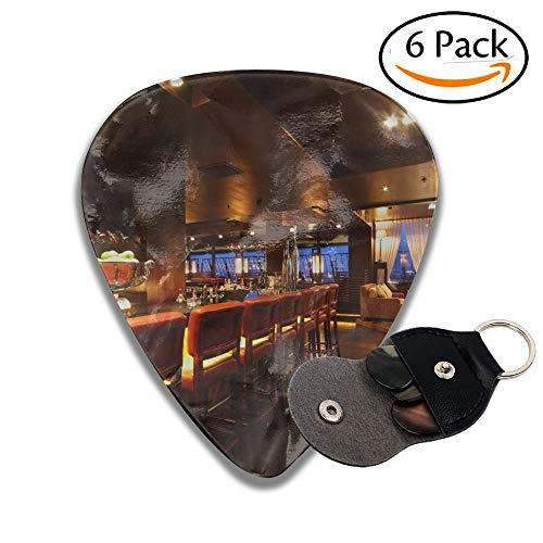 Bar Counter With Chairs In Empty Comfortable Restaurant At Night Stylish Celluloid Guitar Picks Plectrums For Guitar Bass .6 Pack ()