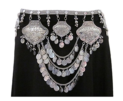 Women's Metal Chain Coin Belt | Tribal Fusion Belly Dance Costume Dress Outfit Skirt Pants Novelty Waist Hip Jewelry | Boho Gypsy Hippie Bohemian Style Statement Accessory -