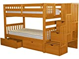 Cheap Bedz King Stairway Bunk Beds Twin over Twin with 3 Drawers in the Steps and 2 Under Bed Drawers, Honey