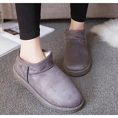 RTRY Zapatos de mujer invierno tejido Pu botas de nieve botas de moda botas de tacón plano botines/Botines informales rubor rosa gris café negro US8 / EU39 / UK6 / CN39