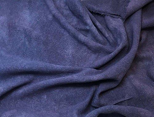 Midnight Blue - Hand Dyed Poplin Gauze Silk Noil (Hand Dyed Silk Fabric)