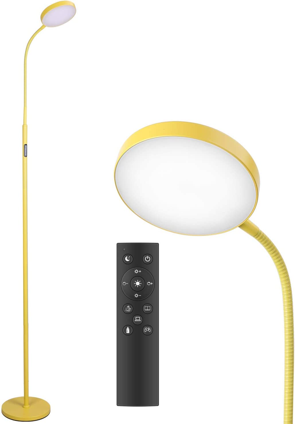 Floor Lamp - JOOFO LED Floor Lamp, Remote & Touch Control & 1 Hour Timer Reading Standing Lamp,4 Color Temperatures with Stepless Dimmer Floor Lamps for Living Room Bedroom Office (Yellow)