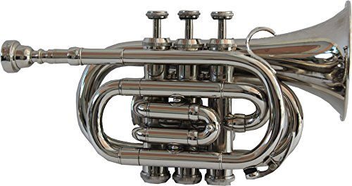 TRUMPET POCKET Bb NICKEL PLATED WITH BAG 7C MOUTH PIECE by Chopra (Image #3)