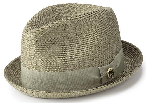 MONTIQUE Braided Straw Stingy Brim Pinch Fedora Hat Matching Grosgrain Band H-55 (Medium, Olive)