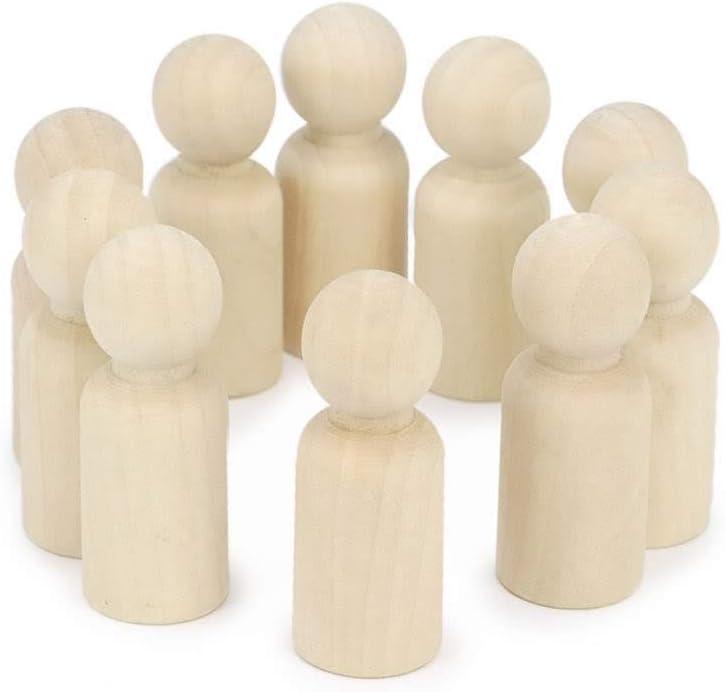 Peg Doll Mu/ñeco de madera inacabado para decorar personas de madera Cuerpos en color natural Hombre//Mujer, 5,3 cm RUBY