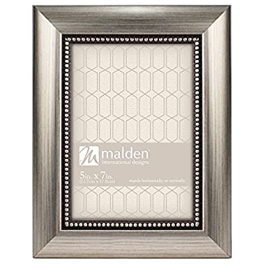 Malden International Designs Champagne Beaded Pewter Picture Frame, 5 by 7-Inch, Silver